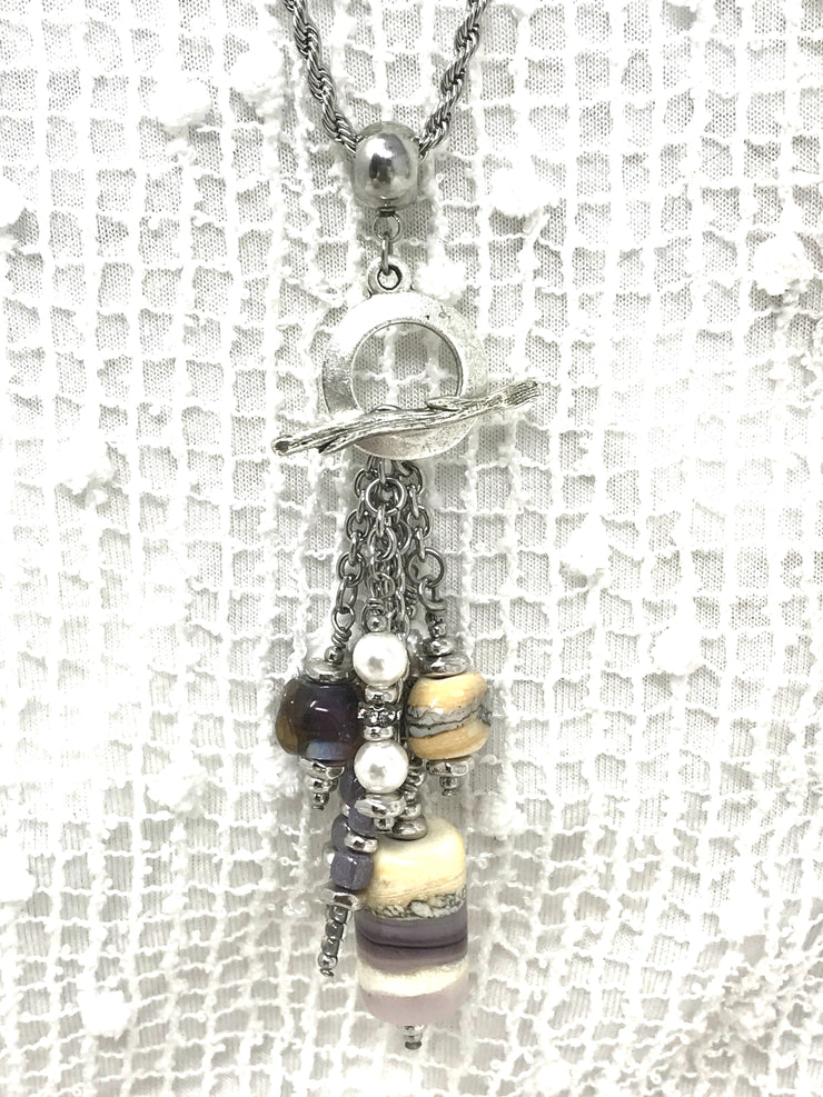 Lavender Lampwork Glass and Swarovski Pearl Beaded Pendant #2066D