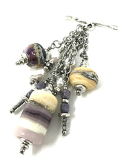 Lavender Lampwork Glass and Swarovski Pearl Beaded Pendant #2066D - Bead Dangle Design