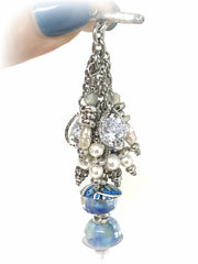 Gotta Love Blue Lampwork Glass and Painted Enamel Beaded Pendant #2067D