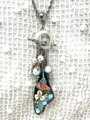 Beautiful Hand Painted Floral Enamel and Fresh Water Pearl Beaded Pendant #2068D - Bead Dangle Design