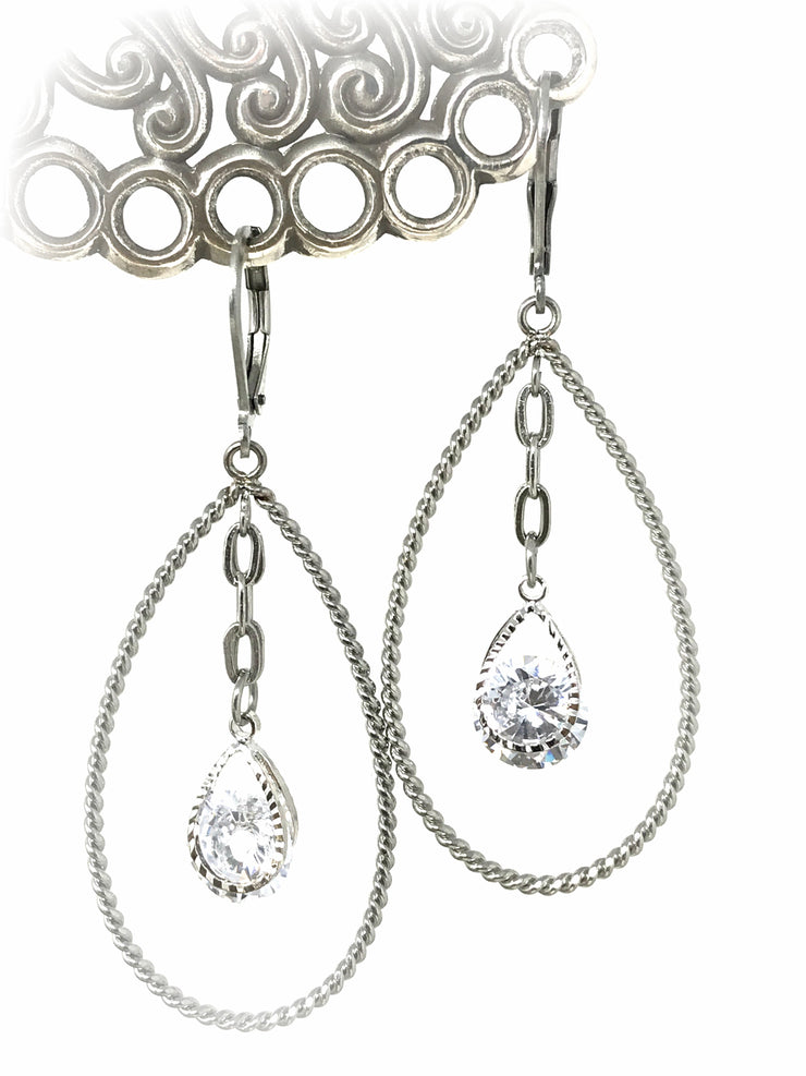 Crystal Stainless Steel Rope Hoop Beaded Dangle Earrings #959E