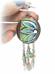 Hand Painted Enamel Floral Beaded Pendant #2072D