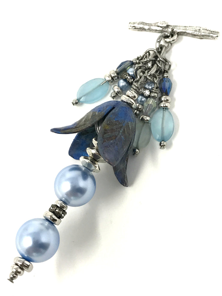 Magnolia Floral Patina Swarovski Pearl and Chalcedony Beaded Pendant #2071D - Bead Dangle Design