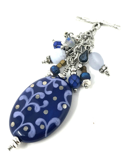 Blue Blue Beaded Swirly Pendant #2078D
