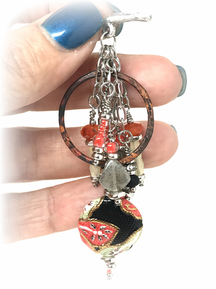 Hand Painted Coral and Black Beaded Pendant #2081D - Bead Dangle Design