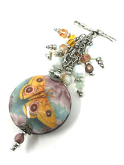 Pretty Yellow Butterfly Porcelain Fresh Water Pearl Beaded Pendant #2084D