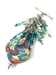 Handmade Pastel Floral Polymer Clay and Seed Bead Beaded Pendant #2085D - Bead Dangle Design