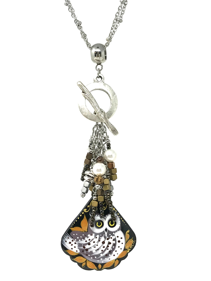 Hand Painted Owl Russian Lacquer Beaded Pendant #2088D - Bead Dangle Design
