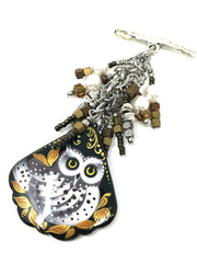 Hand Painted Owl Russian Lacquer Beaded Pendant #2088D