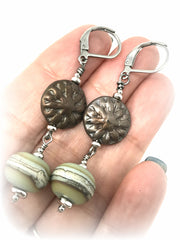 Czech Etched Glass and Lampwork Glass Beaded Dangle Earrings #967E - Bead Dangle Design