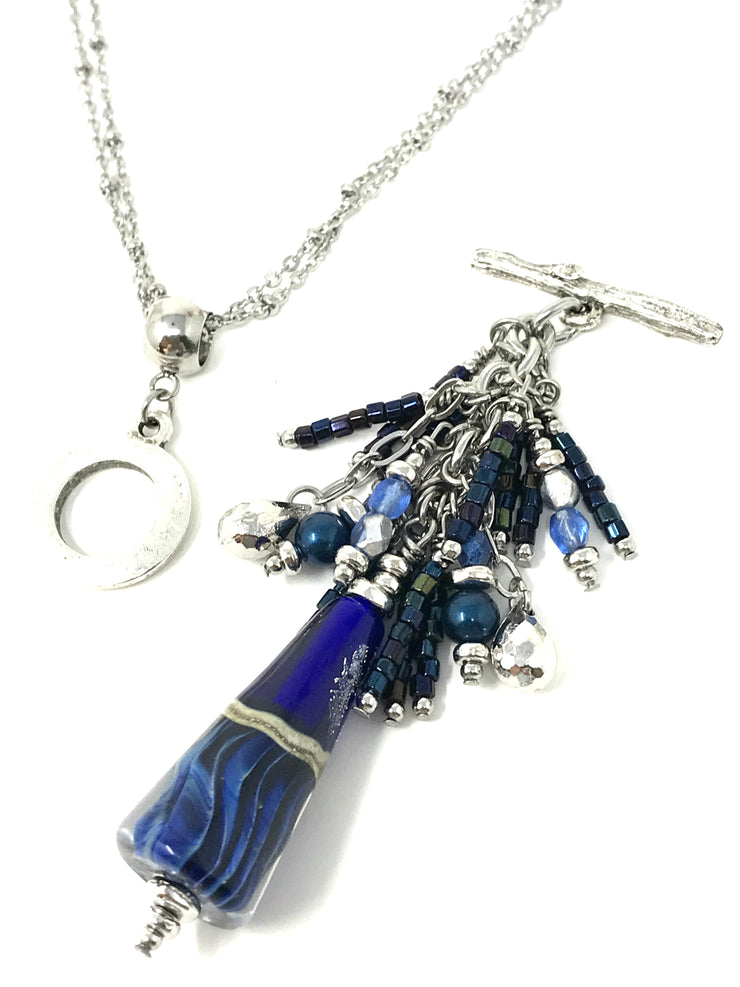 Deep Blue Lampwork Glass and Seed Bead Beaded Pendant #2091D