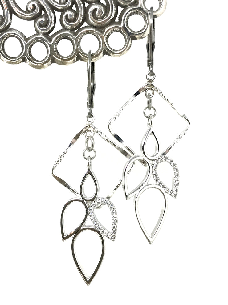 Crystal Teardrop Etched Rhodium Beaded Earrings #968E - Bead Dangle Design