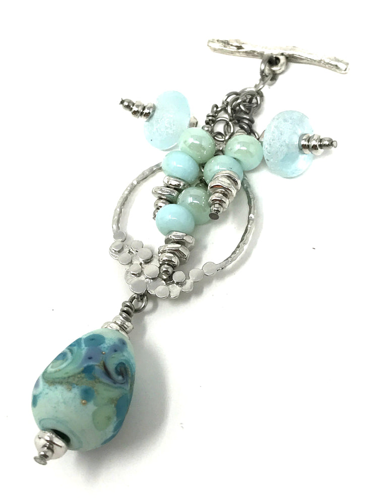 Frosted Lampwork Glass Swirl Beaded Pendant #2093D - Bead Dangle Design