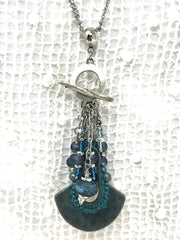 Lampwork Glass Patina Frosted Glass Beaded Pendant #2096D - Bead Dangle Design