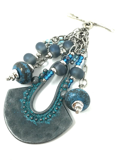 Lampwork Glass Patina Frosted Glass Beaded Pendant #2096D