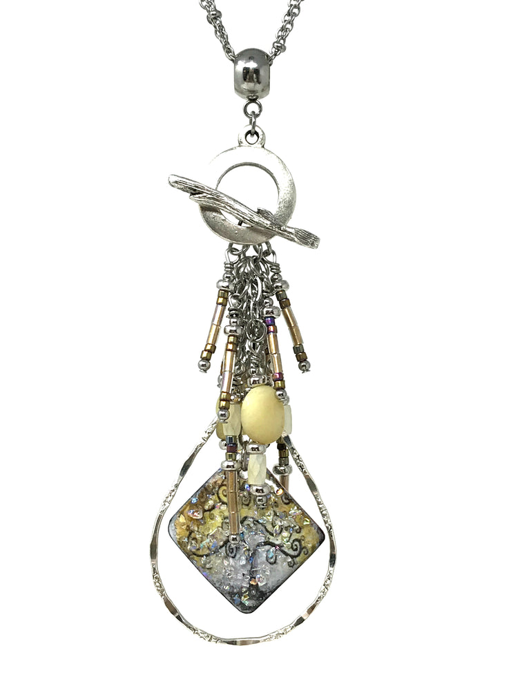 Tree of Life Golden Sparkle Seed Bead Beaded Pendant #2103D