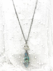 Patina Tulip and Chalcedony Gemstone Beaded Pendant #2108D
