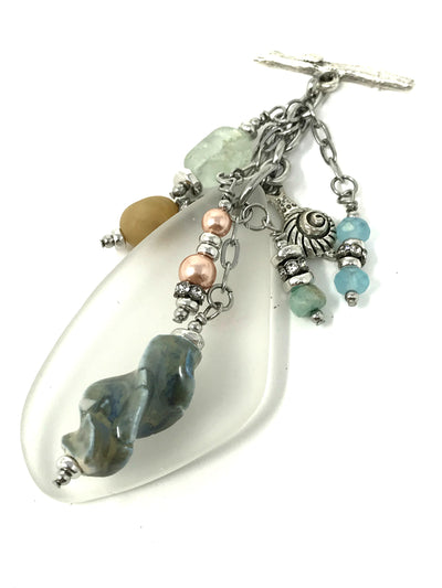 White Sea Glass and Lampwork Glass Beaded Pendant #2115D - Bead Dangle Design