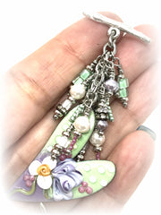 Painted Lampwork Glass Enamel Pastel Heart Beaded Pendant #2111D - Bead Dangle Design