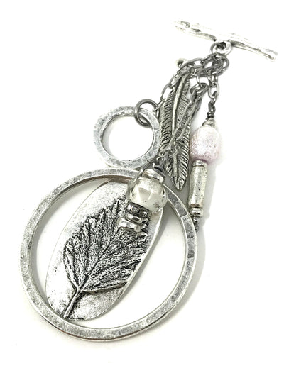 Solid Pewter Leaf and Feather Charm Beaded Pendant #2119D - Bead Dangle Design