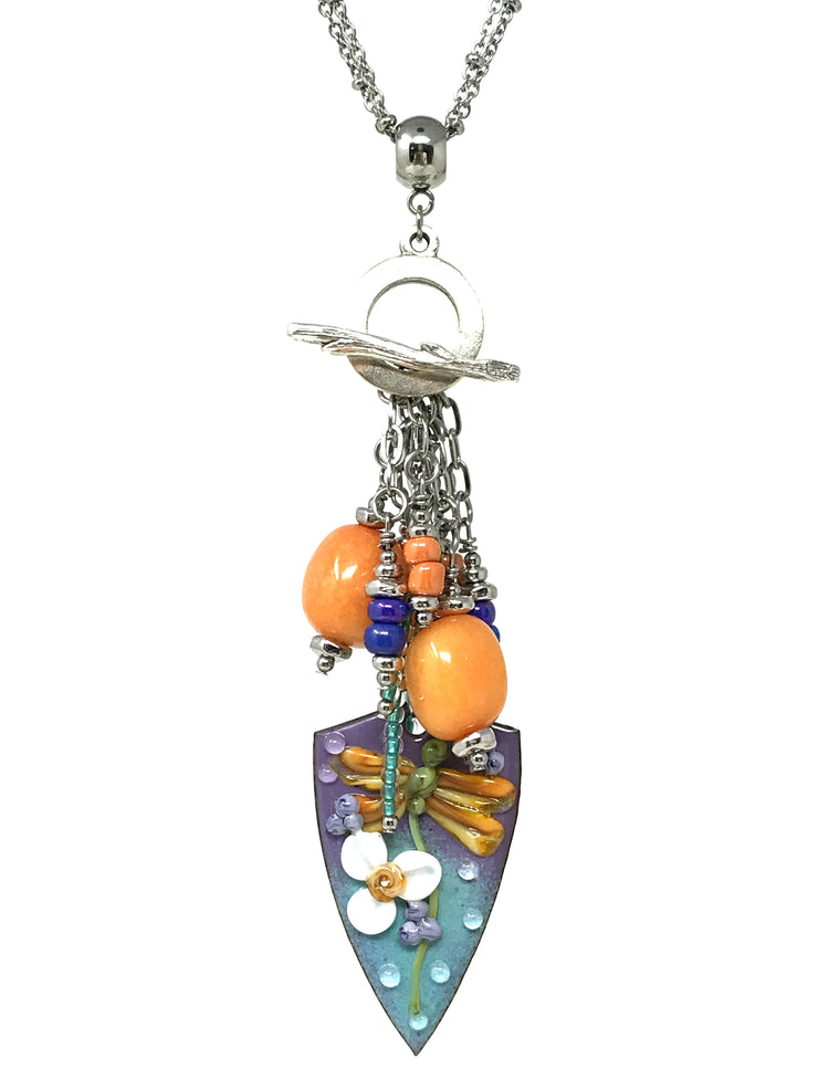 Lampwork Glass Painted Floral Enamel and Orange Quartz Beaded Pendant #2120D - Bead Dangle Design