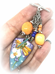 Lampwork Glass Painted Floral Enamel and Orange Quartz Beaded Pendant #2120D