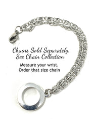 Solid Pewter Handmade Mermaid Interchangeable Bracelet Pendant #3024BC - Bead Dangle Design
