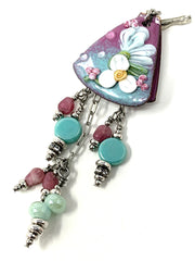 Handmade Painted Glass Enamel Floral Beaded Pendant Necklace #2228D