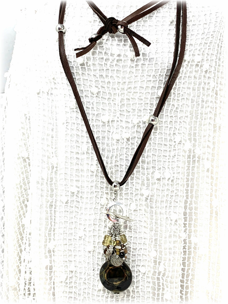 Soft Brown Deer Skin Leather Necklace #123LTHR - Bead Dangle Design