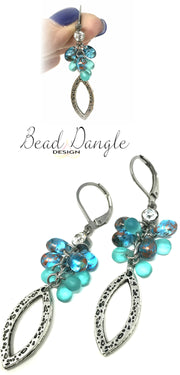 Copper Speckled Glass Teardrop Bead Dangle Earrings #925E