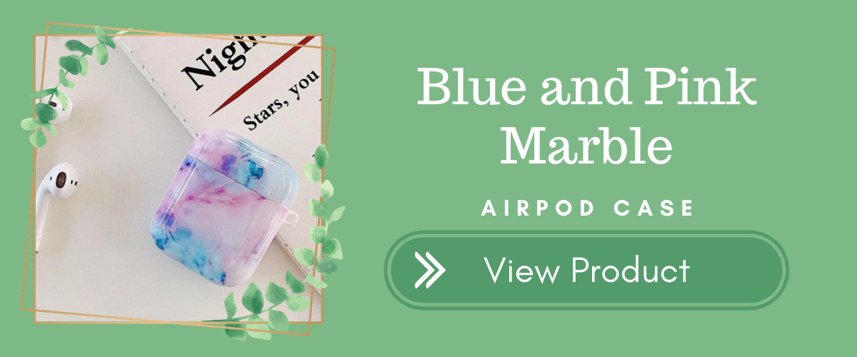 Blue and Pink Marble AirPods Case