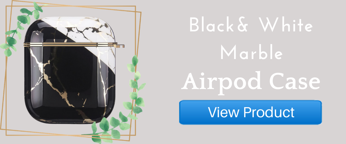 Black and White Marble AirPods case