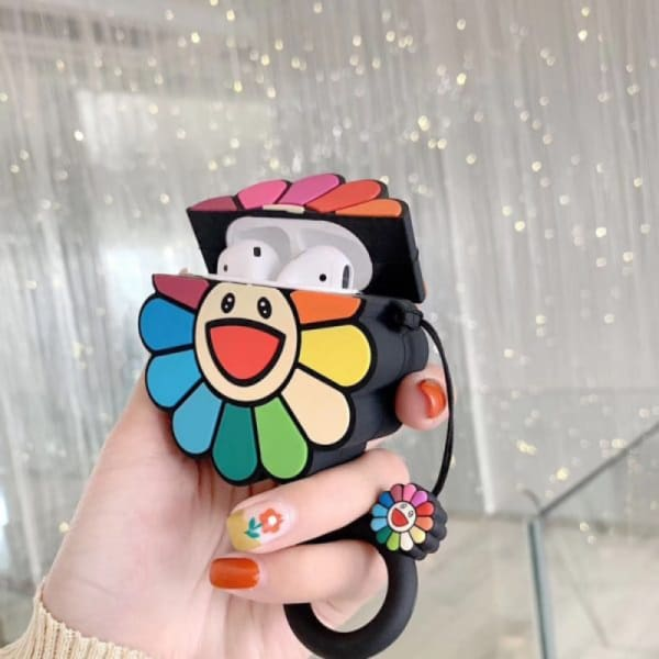 rainbow-flower-airpod-case