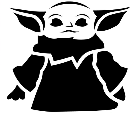 Carve up a glowing Grogu this year for Halloween by using a Mandalorian pumpkin stencil.