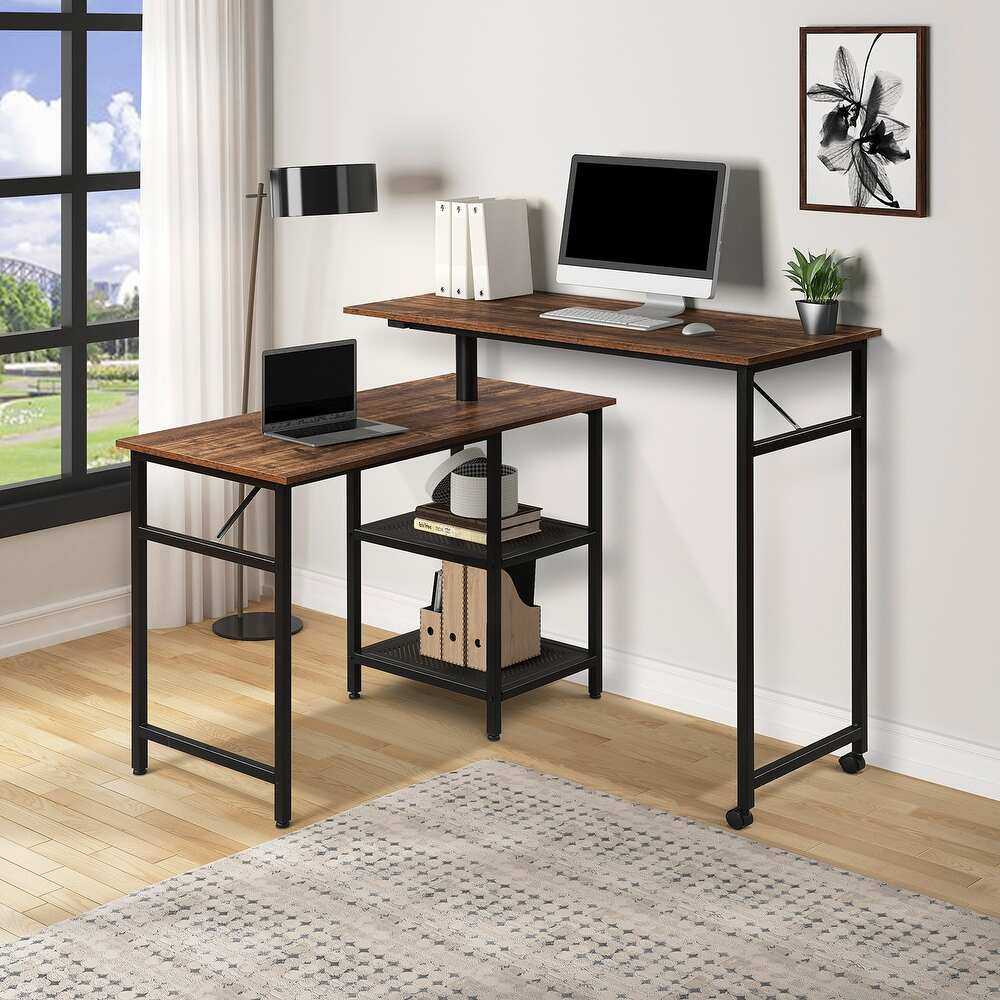 TBD Industrial Style desk | Industrial Style L Shaped Rotating Standing Computer Desk | The Brand Decò