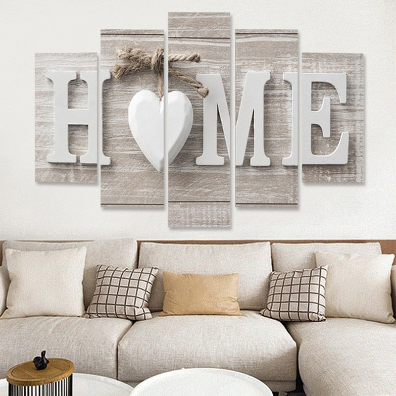 "Unframed 5-Pieces ""Home"" Canvas Painting 