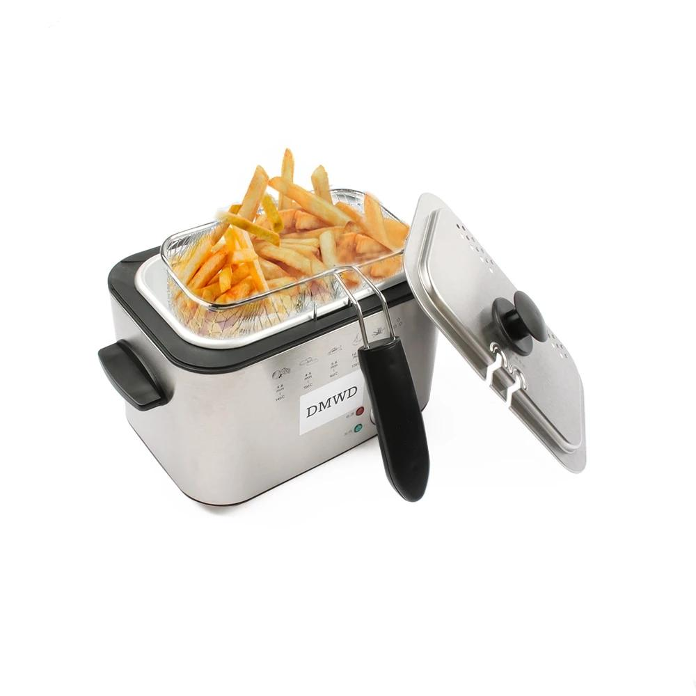 1.2L Stainless Steel Single Tank Electric Deep Fryer Smokeless French Fries - The Brand Decò