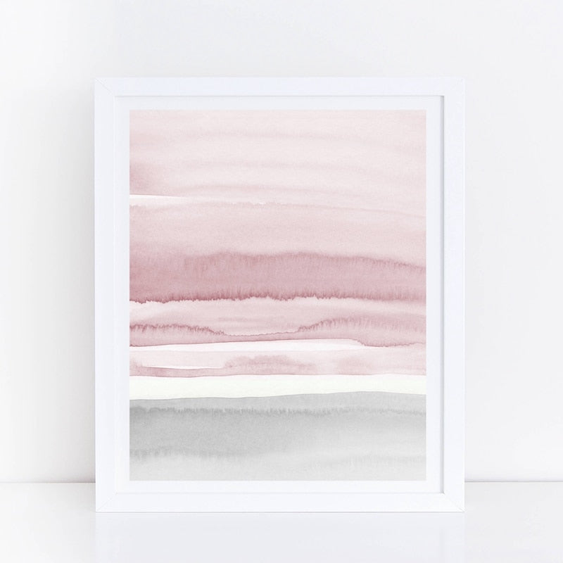 "Abstract Art Canvas ""Blush Pink and Grey Abstract"" 
