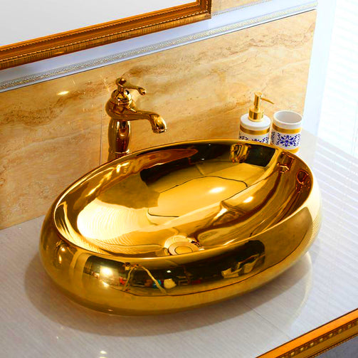 Europe style luxury golden bathroom vanities Sink