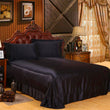 Luxury Satin Silk Bed Sheet | King Queen Twin Solid black Flat bedsheet | The Brand Decò