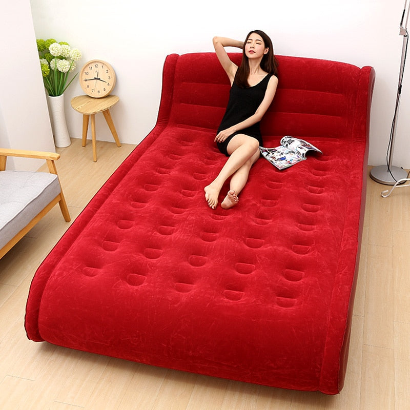 Inflatable Bed Sofa Bedroom Furniture With Electric Pump Soft Elastic Velvet Face Folding Beds | The Brand Decò