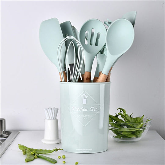 Light Blue Silicone Cooking Set