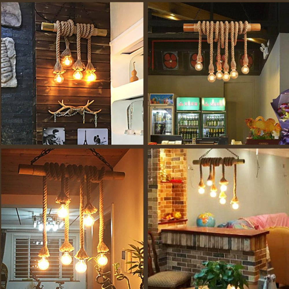 Double Head Vintage Rope Hanging Pendant Lamp | The Brand Decò