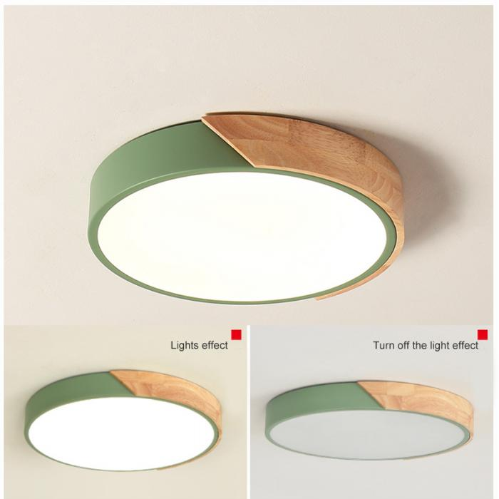 Nordic Round LED Ceiling Light Wood Macaron Ceiling Light | The Brand Decò