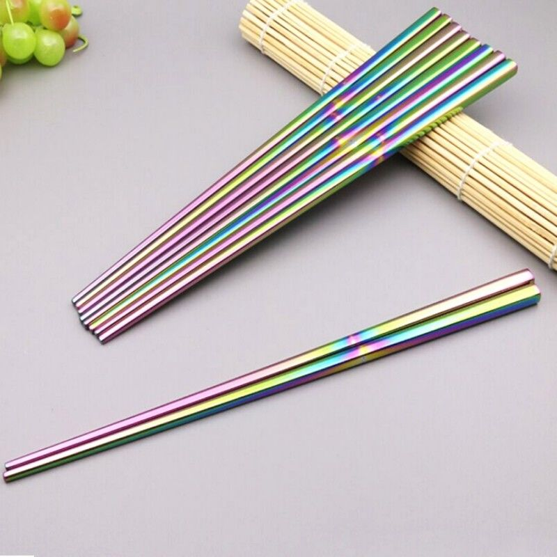 Stainless Steel Chopsticks Metal Chop Sticks Tableware Silver Gold Multicolor | The Brand Decò