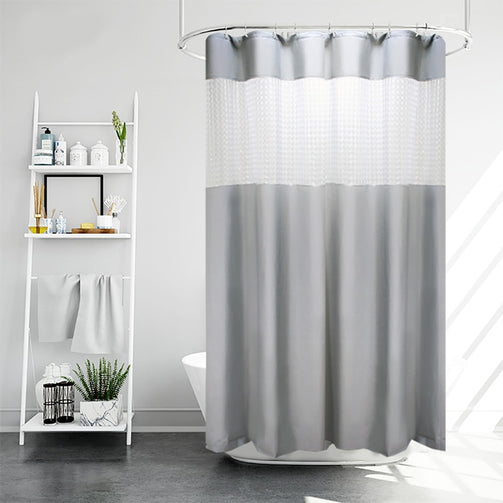 Shower Curtains Waterproof | Light Grey Shower Curtain with 3D Cube Light Flitering Window Bathroom Curtain