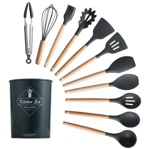 12 Pcs Dark Gray Silicone Cooking Set | The Brand Decò | The Brand Decò