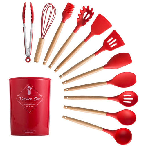 12 Pcs Cherry Red Silicone Cooking Set | The Brand Decò | The Brand Decò