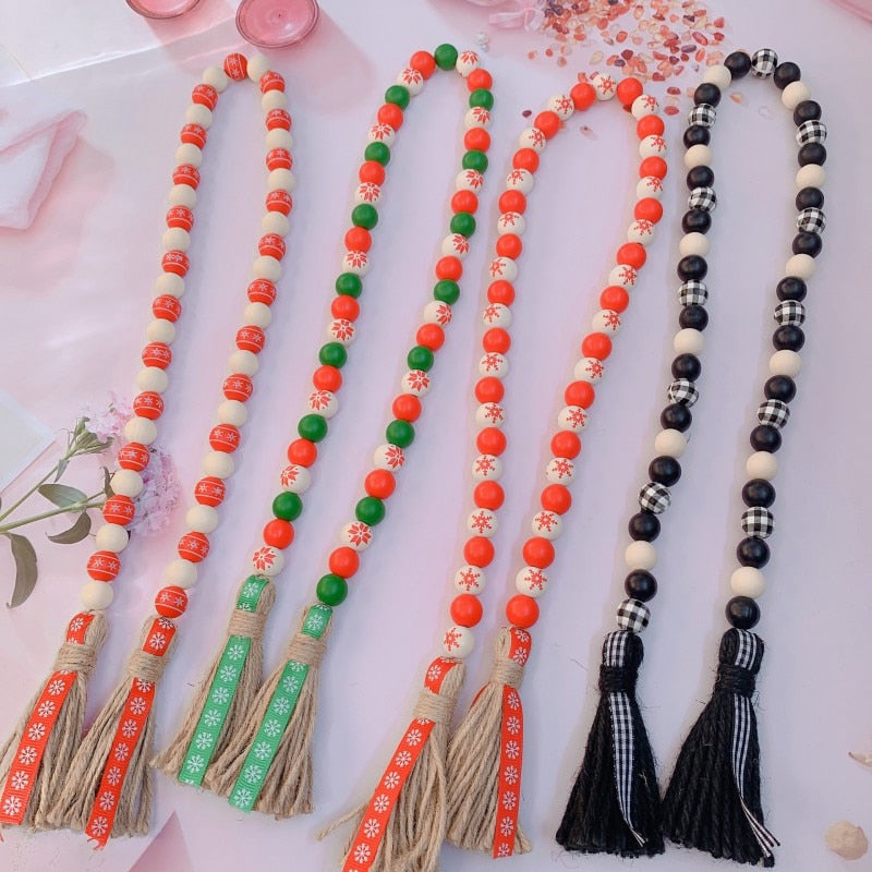 Star Moon Tassel Wooden Beads Ornament Kids Room | The Brand Decò