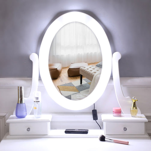 Dressing Table Single Mirror With Five Light Bulb | The Brand Decò